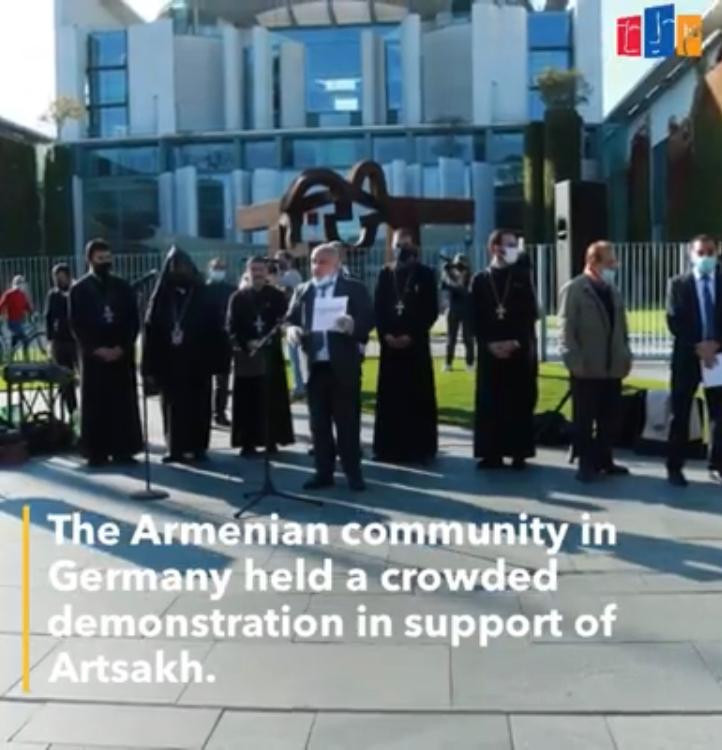 The Armenian community in Germany held a crowded demonstration in support of Artsakh.